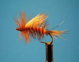 You could fish a wild trout stream with nothing but bushy dries and expect to do well. This is a size 14 Improved Sofa Pillow.